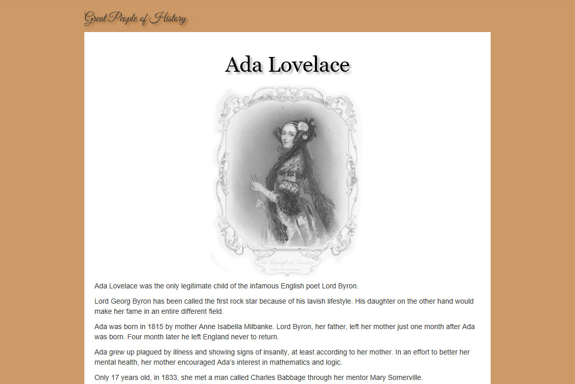 HTML hand-coded tribute page.