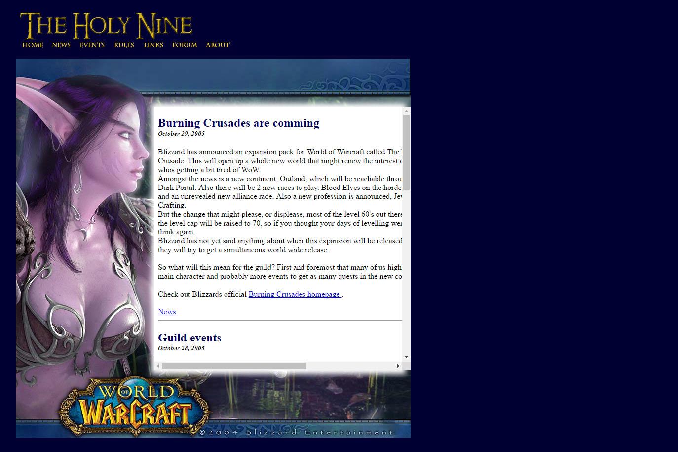 Website for a World of Warcraft guild.